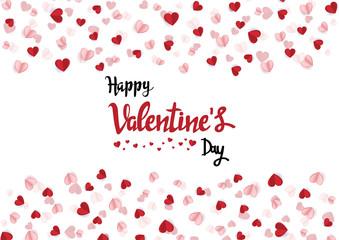 Happy valentine day with creative Heart confetti background. Vector illustration