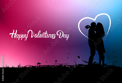 Happy Valentine Day Background With Black Couple Silhouette ...