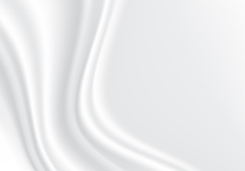 White fabric satin wave with blank space luxury background texture vector illustration.