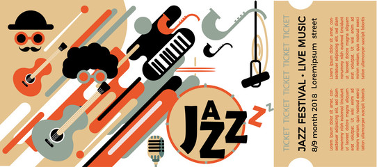 Template for the ticket of the jazz festival with musical instruments. Illustration with saxophone and piano keys and guitar. Colorful Musicians of the Jazz Festival