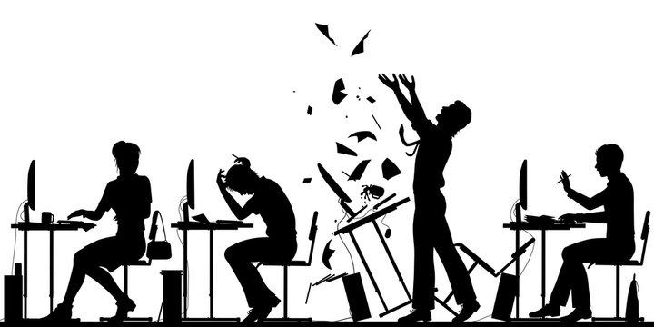 Office worker rebellion illustration