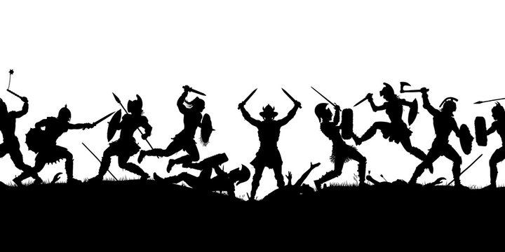 Ancient battle scene silhouette
