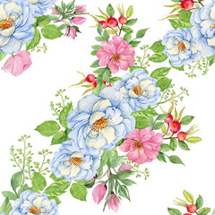 rosehips watercolor seamless pattern. white and pink flowers of wild roses.watercolor hand painting