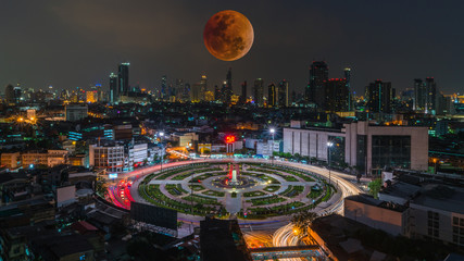 super blood moon on the city
