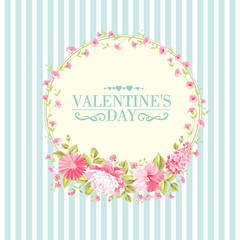 Luxurious vintage card of color peony. Spring flowers bouquet of rose, peony and lavender garland. Vector illistration