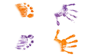 Colorful baby's footprints and handprints isolated on white background
