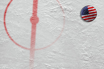 Fragment of the hockey arena with markings and the American washer