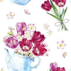 hand drawn watercolor seamless pattern with tulips