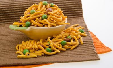 murukku or traditional indian snack on background.