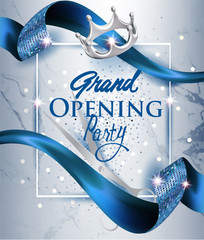 Elegant grand opening invitation card with blue textured curled blue ribbon and marble background. Vector illustration