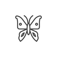 Butterfly line icon, outline vector sign, linear style pictogram isolated on white. Symbol, logo illustration. Editable stroke