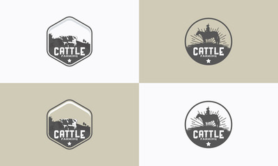 set of vintage Cattle farming logo badge, Cattle farm logo badge, cow farm logo badge, beef fresh logo badge vector