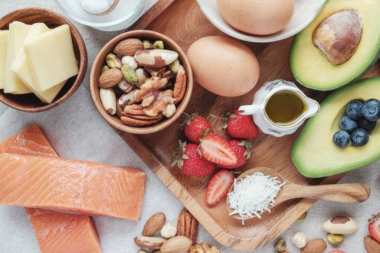 Keto, ketogenic diet, low carb, high good fat ,  healthy food, flexitarian food