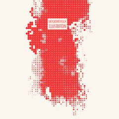Halftone illustration. Red color Brachure.
