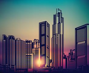 Abstract city landscape sunset sky.
