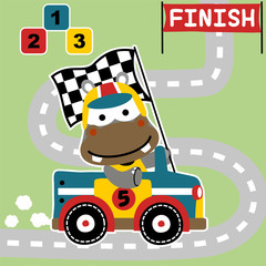 funny hippo cartoon vector the racing car winner