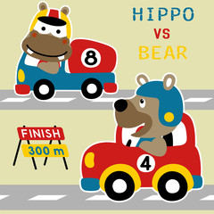 car racing cartoon vector with funny animals