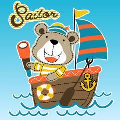 funny sailor cartoon vector on sailboat