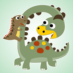 funny dinosaurs cartoon vector
