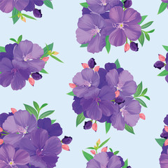 Seamless pattern with beautiful purple princess flower or tibouchina urvilleana and leaf on blue background. Vector set of blooming floral for wedding invitations and greeting card design.