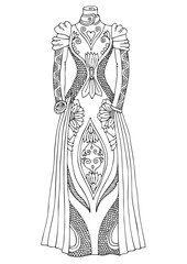 Women's lace dress. Hand drawn illustration for coloring page, poster or invitation card design. Sketch for anti-stress colouring book in zen-tangle style. Vector picture.
