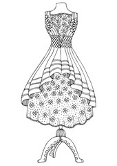Wedding dress. Hand drawn illustration for coloring page, poster or invitation card design. Sketch for anti-stress colouring book in zen-tangle style. Vector picture.