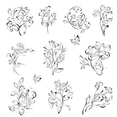 flowers 19. SET. stylized flowers and butterflies in black lines on a white background. SET