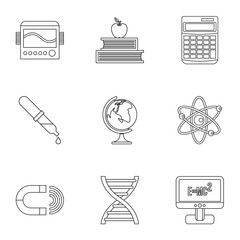 Scientific research icons set, outline style