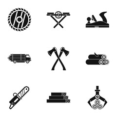 Firewood icons set, simple style