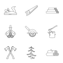 Sawing icons set, outline style