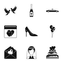 Wedding celebration icons set, simple style