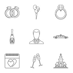Marriage ceremony icons set, outline style