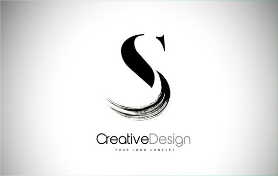 S Brush Stroke Letter Logo Design. Black Paint Logo Leters Icon.