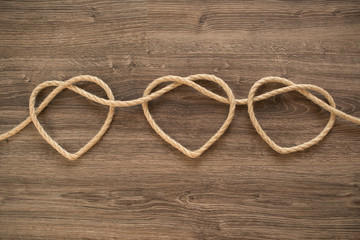 Three rope hearts
