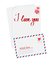 Vector simple envelope.Pink flower and text I love you painted o