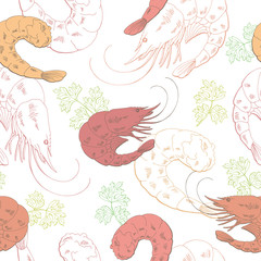 Shrimp graphic food pink green color seamless pattern sketch illustration vector