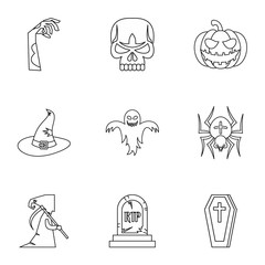 Resurrection of dead icons set, outline style