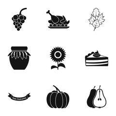 Thanksgiving feast icons set, simple style