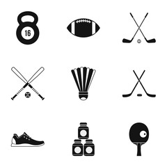 Sports accessories icons set, simple style