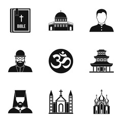 Religion icons set, simple style