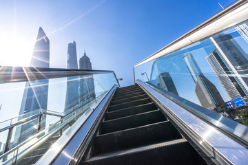 escalator with modern building