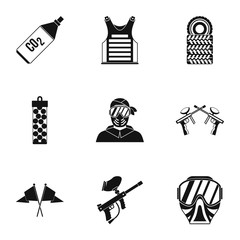 Shooting paintball icons set, simple style