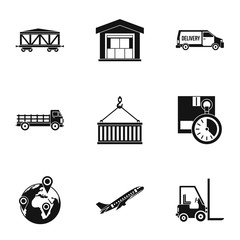 Warehouse icons set, simple style