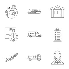 Store icons set, outline style