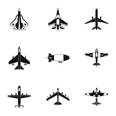 Military aircraft icons set, simple style