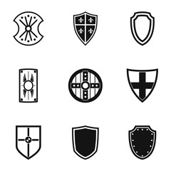 Army shield icons set, simple style
