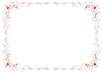 Floral frame template with soft pink flowers and leaves on white background. Vector design illustration element for decoration, print, card, invitation.