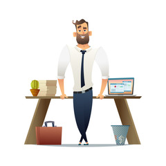 Manager or businessman standing near his workplace. Flat cartoon character design