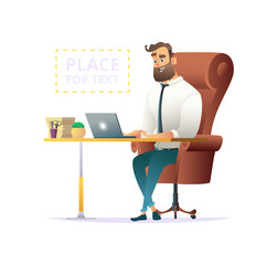 Businessman working on a laptop at office workplace. place for text on illustration