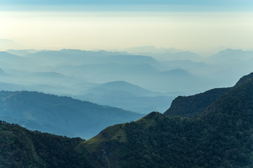 Sri Lanka – landscape cloud forest of the Horton Plains National Park, view from World's End.